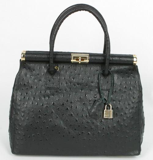ta75 exklusive ledertasche damen luxus strauss schwarz meine schmuck oase. Black Bedroom Furniture Sets. Home Design Ideas